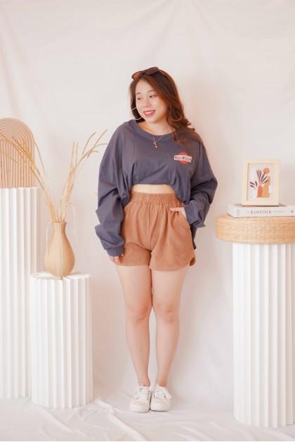 Pumpkin Spice Lounge Shorts in Khaki
