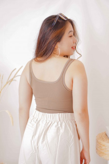 Sher Padded Camisole Top in Brown