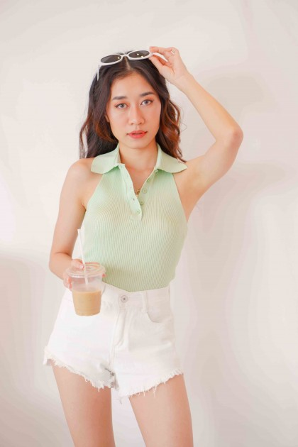 Lime Gang Halter Collar Top in Green