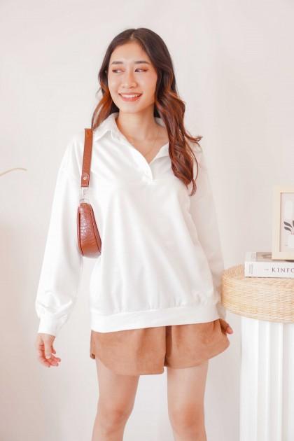 Milk Shake Polo Long Sleeve Top in White