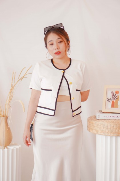 Classic Mood Button Down Lining Top in White