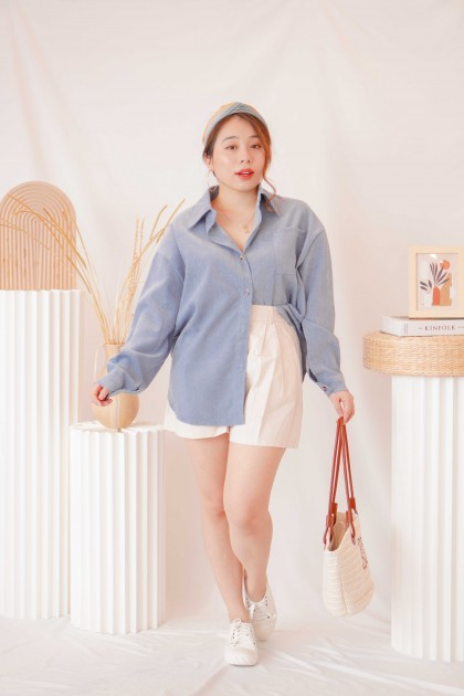 Kade Button Down Top in Blue