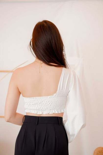 Paris Vision Toga Long Sleeve Top in White