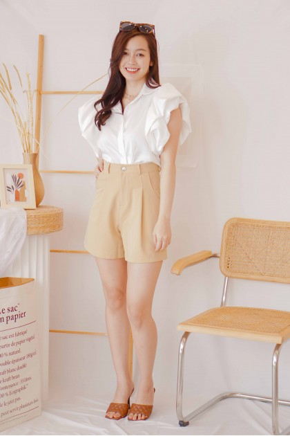 (BACKORDER) Cosmo Girl Puffy Sleeves Top in White