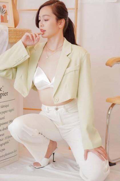 Jade Cropped Blazer in Light Green