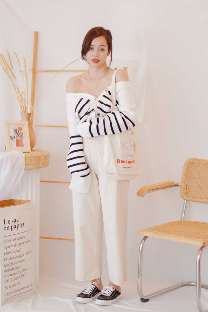 (BACKORDER) Book Club Cardigan Top with Stripes