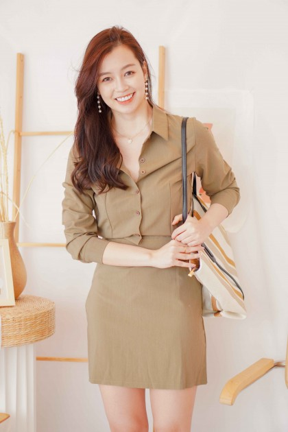 First Day Button Down Bodycon Dress in Brown
