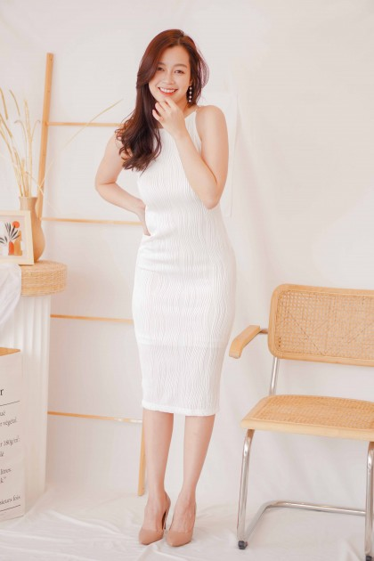 Pearl Beauty Halter Textured Dress in White