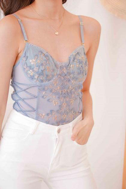 (BACKORDER) Azure Dream Floral Embroidery Bodysuit in Blue