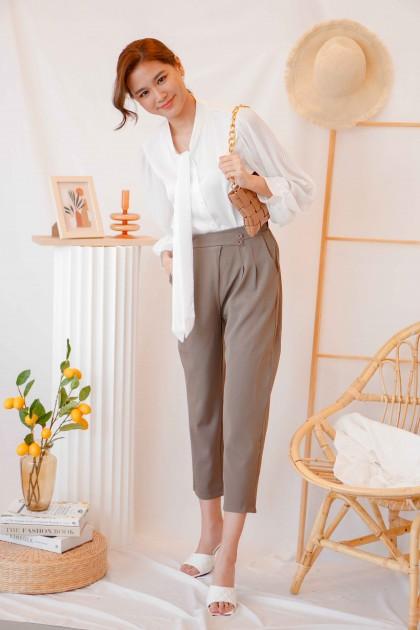 Mocha Button Pants in Brown