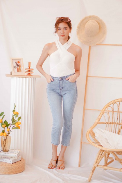 (BACKORDER) French Class Halter Knit Top in White