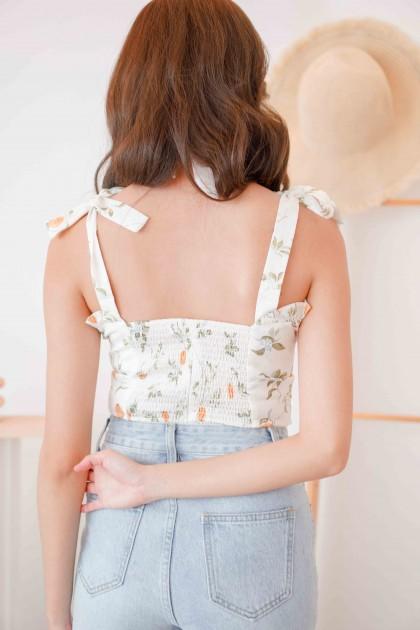 (BACKORDER) Love Rosie Self Tied Sleeves Floral Top in White