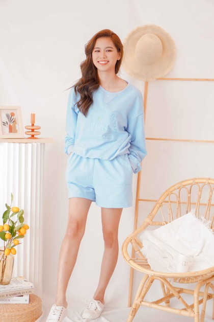 Bring You Flowers Lounge Sweater in Blue