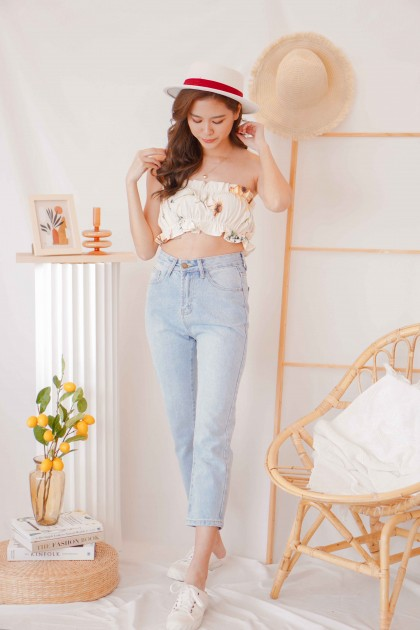 Lily Dance Floral Frills Tube Top in Cream