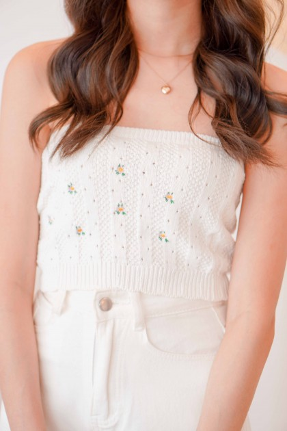Sunkissed Knit Embroidery Tube Top in White