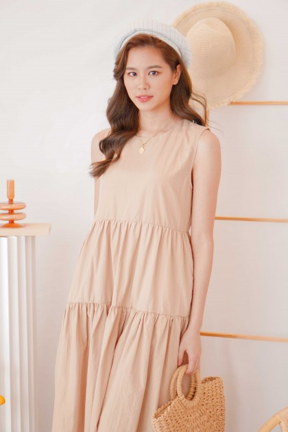 (BACKORDER) Let Things Be Layered Shift Dress in Khaki