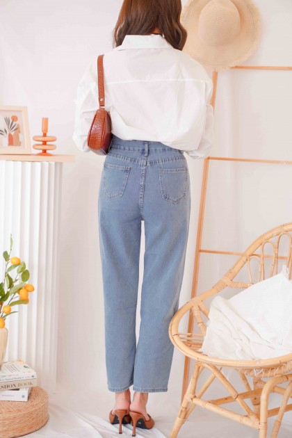 Savi Button High Waisted Jeans in Blue