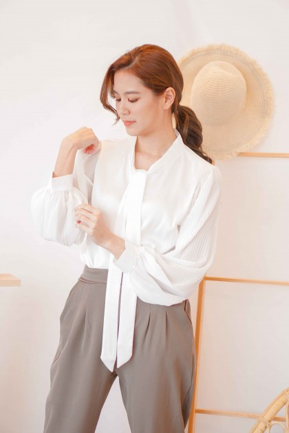 Madeline Bow Blouse in White