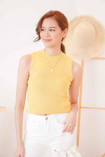 Sara Basic High Neck Top in Yellow