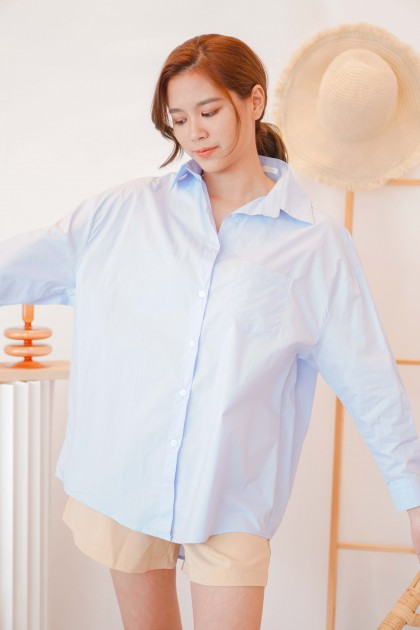 Rae Oversized Button Down Top in Blue