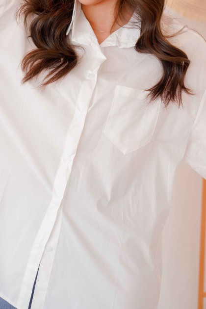 Rae Oversized Button Down Top in White