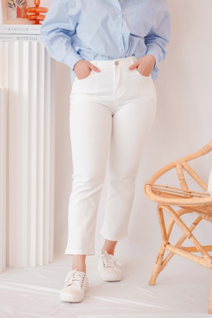 Pure Love Cropped Jeggings in White