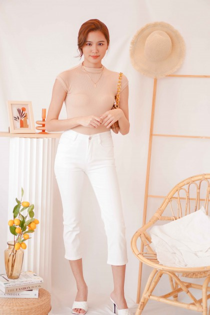 (BACKORDER) Rare Mind High Neck Top in Nude