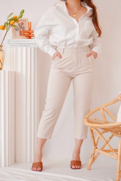 Bianca Cropped Pants in Beige