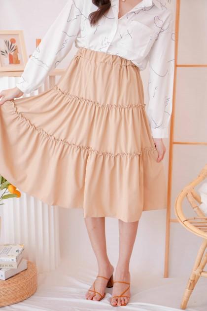 Like You Do Layered Skirt in Khaki