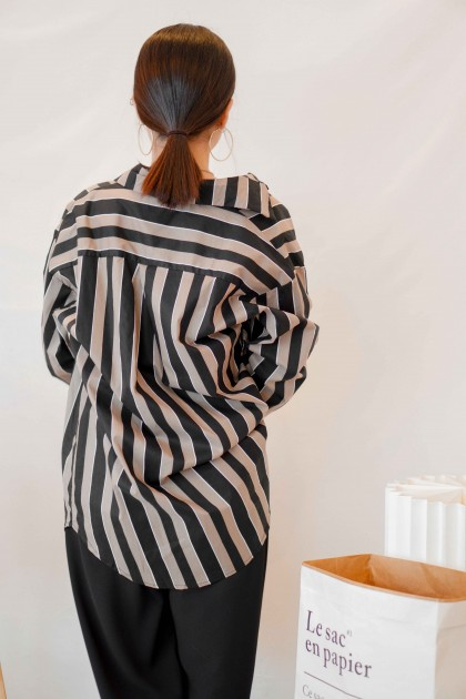 Chasing Pace Oversized Stripes Button Down Top