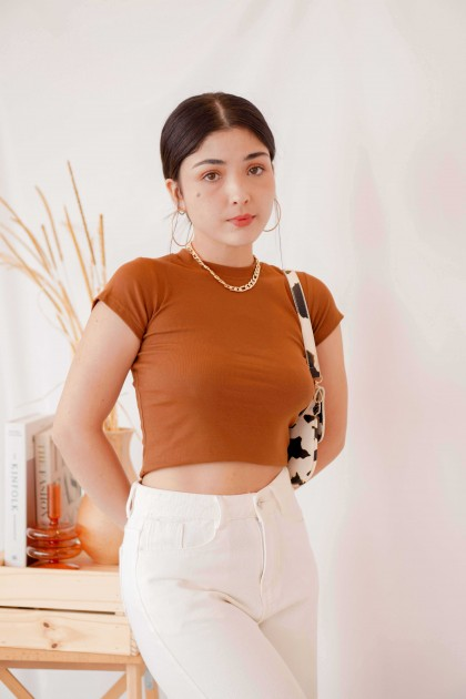 Outfit Check Crop Top in Brown
