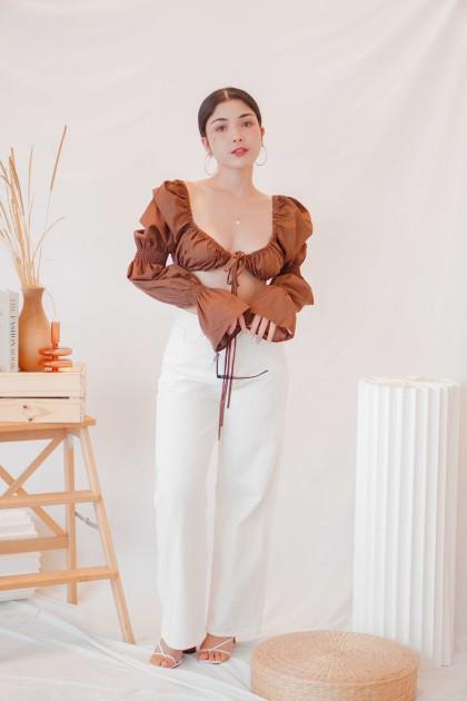 Paloma Long Sleeve Tie Crop Top in Brown