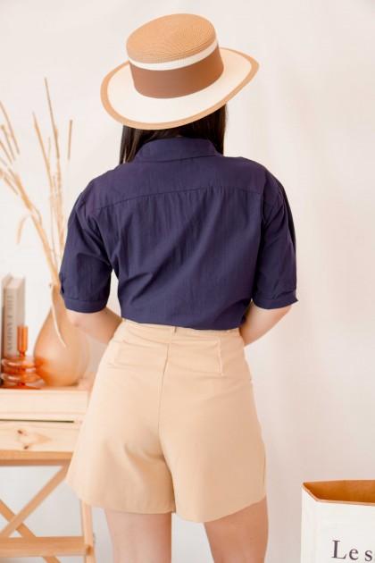 Voyage Button Short Sleeve Top in Dark Blue