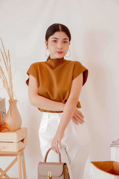 (BACKORDER) Bare Moment High Neck Knit Top in Brown