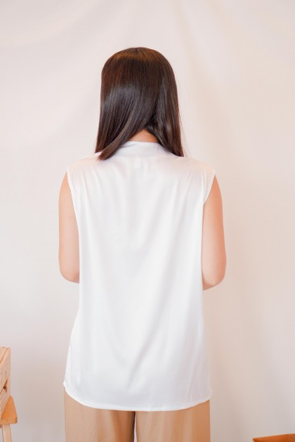 Above Your Class V Neck Top in White