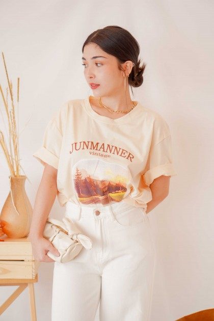 (BACKORDER) Vintage Graphic T Shirt in Light Yellow