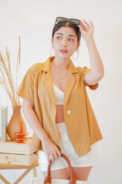 Warm Palms Short Sleeve Blazer in Mustard Brown