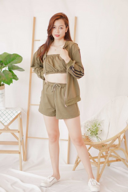 Long Day Hoodie 3 Piece Set in Green