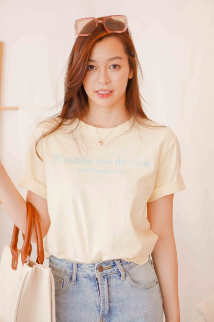 (BACKORDER) Don't Forget to Live T-Shirt in Yellow