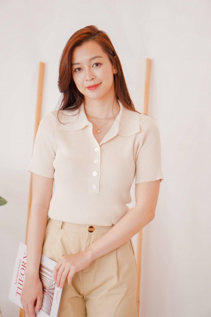 Better Moment Knit Collar Button Top in Beige