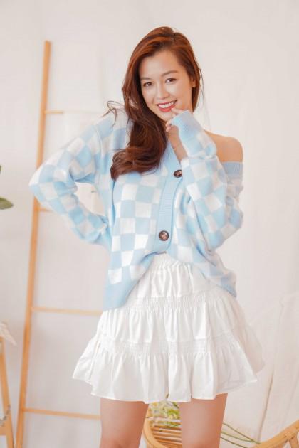 Beth Checkered Cardigan in Blue