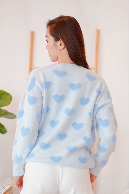 (BACKORDER) Hearts On My Sleeve Knit Sweater in Blue