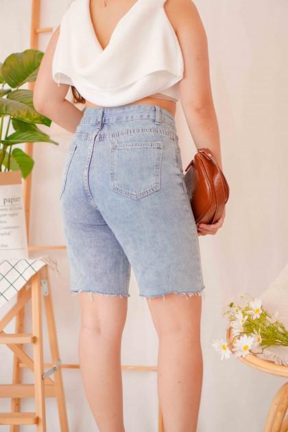 Peaches Midi Denim Shorts in Blue
