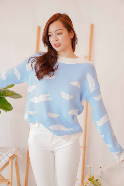 Head in Clouds Round Neck Sweater in Blue